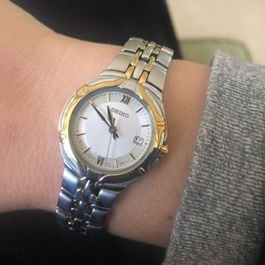 Seiko gold and stainless steel watch